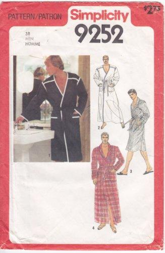 Vintage Pattern Simplicity 9252 Men Wrap Robe 70s Size Med Chest 38