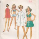 Vintage Pattern Style 2443 Beach Robe in Two Lengths, Bikini and Skirt 60s Size 14 B36