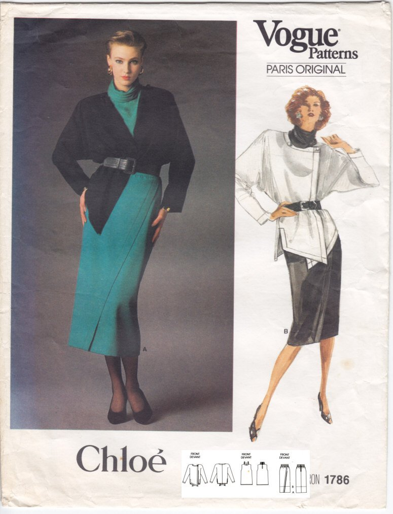 Vintage Pattern Vogue 1786 Chloé Jacket - Skirt and Top 80s Size 12 B34