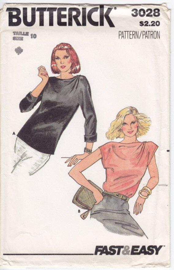 Vintage Pattern Butterick 3028 Blouse 80s Size 10 B32-1/2