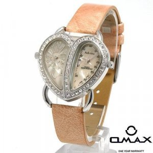 ADRINA Lady's Watch with Mother of Pearl and Tan Leather Strap
