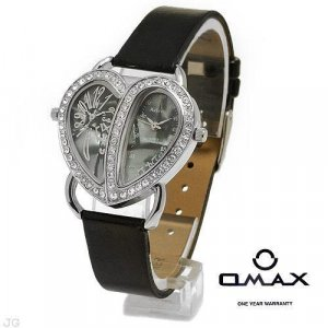 ADRINA Lady's Watch with Mother of Pearl and Black Leather Strap