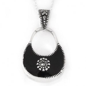 Elegant White and Black Two Tone Purse Necklace-Style 2