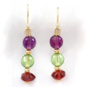 Dangle Earrings with Amethysts, Garnets and Peridots