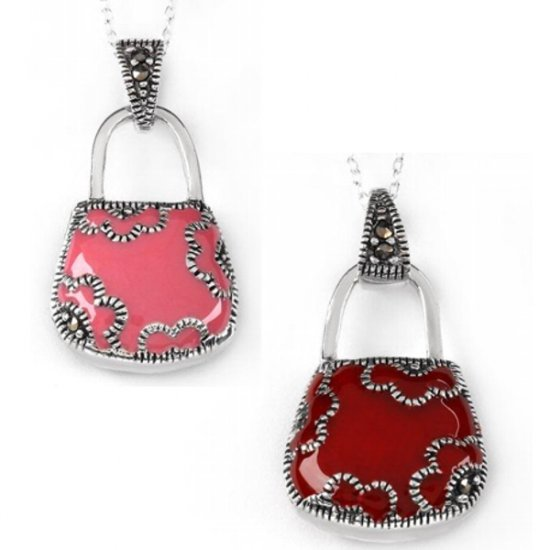 Elegant Pink and Red Two Tone Purse Necklace-Style 3