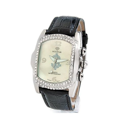 Classy Ice Star Men's Watch with Genuine Crystals