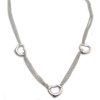 Double Stranded Sterling Silver Heart Necklace