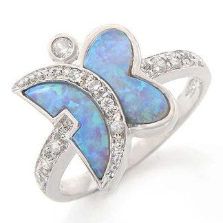 Stylish and Beautiful Lady's Ring with CR Opals and Cubic Zirconia
