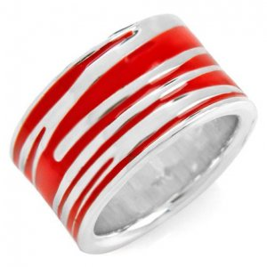 Modern and Stylish Sterling Silver and Red Enamel Lady's Ring