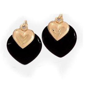 Genuine Onyx Earrings in Solid 14k Gold