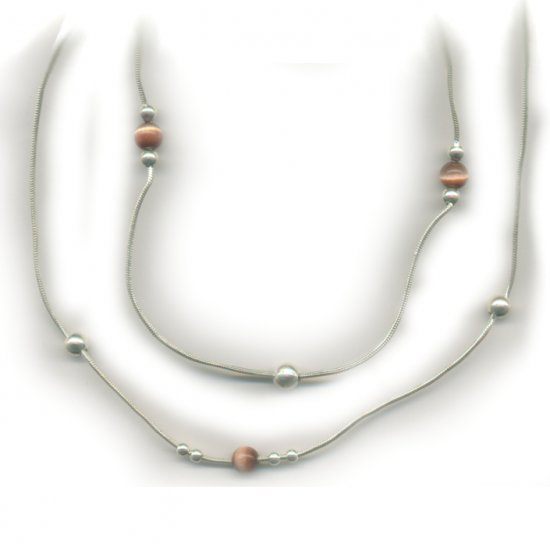 Fashionable Necklace with Cr Cats Eye Gems