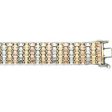 3 Tone Woven Style Ladys Bracelet in Italian Gold  (Style-2)