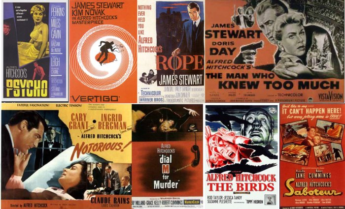 8 Classic HITCHCOCK Movie Poster Fridge MAGNETS
