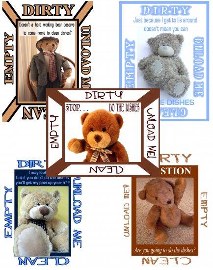 Choose TEDDY BEAR DiShWaSheR Dirty Clean MAGNET