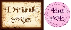 ALICE in WONDERLAND Theme Party Drink LaBeLs StiCKerS