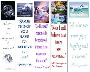 Set of 5 Colorful UNICORN Mythical Fantasy Bookmark (s)