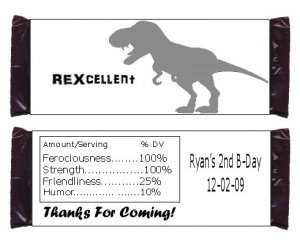 Custom T-Rex DINOsaur Candy BAR or NUGGET Wrappers