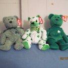 Beanie Babies Irish Bears  Erin, Clover, Shamrock