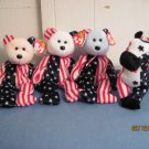 Beanie Babies Spangle Red, white, Blue  & Lefty