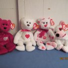 Beanie Babies Valentio, Valentina, Smooch and Cupid