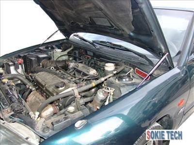 Mit. Lancer EVO 1 2 3 Carbon Fiber Gas Hood Damper Kit h7