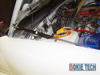 97~00 Nissan Sentra Silver Carbon Fiber Gas Hood Damper d6