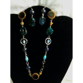 Turquoise & Glass Beading Necklace Set with Links