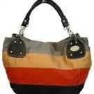 Oversized Dark Colors Stripes Handbag