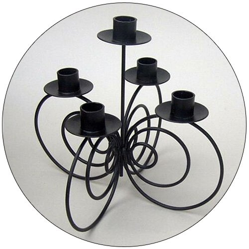 Candle Stand - Iron Black Tabletop - 10 Inch - 5 Light
