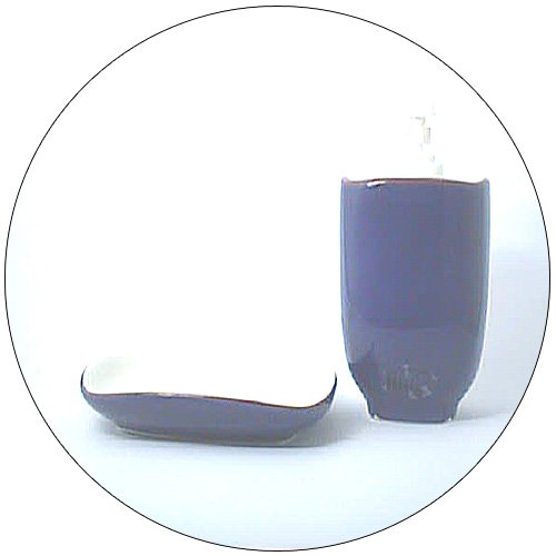 Lotion / Soap Dispenser & Matching Soap Dish - Navy Blue/Tan Trim