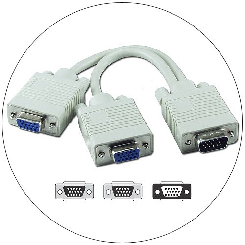 VGA Video Y Splitter Cable - 8in Male To Dual Female