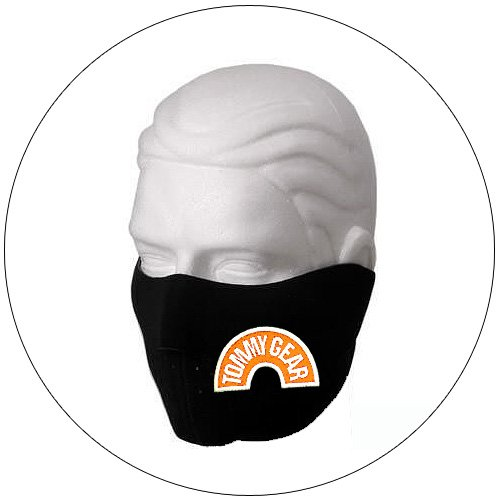 "Half Face Ski Mask - ""Tommy Gear"" Black w/ Orange Glow-N-Dark - Hiking, Running, Cycling, etc."