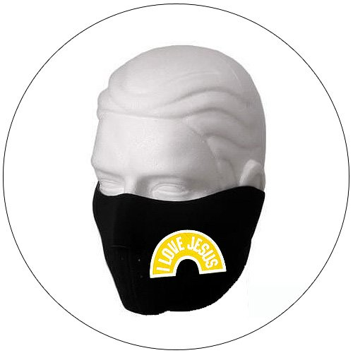 "Half Ski Face Mask - ""I Love Jesus"" Black w/ Bright Yellow - Hiking, Running, Cycling, etc."