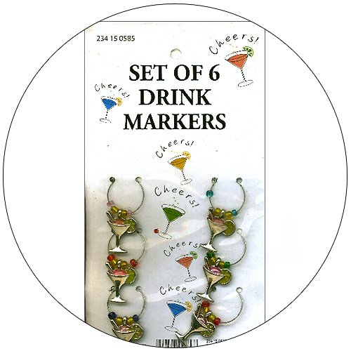 Martini Shaped Drink Markers - Set of 6