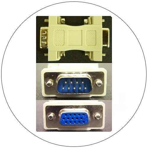 Video Adapter - 15-Pin Female / 9-Pin Male (EGA/CGA/Monochrome Monitor Adapter)