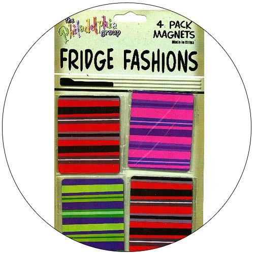 Fridge Fashions - Colorful Retro Stripes - 4 Pack Magnets
