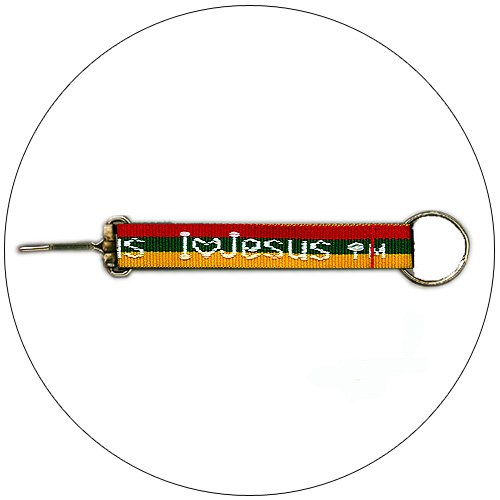 """""""I Love Jesus"""" Embroidered Keychain Red/Green/Yellow - 3/4"""" x 7-1/2"""""""