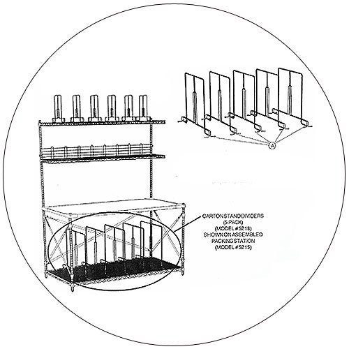 Carton Stand Dividers (5-Pack) for Wire Packing Station - Safco - Model No. 5218