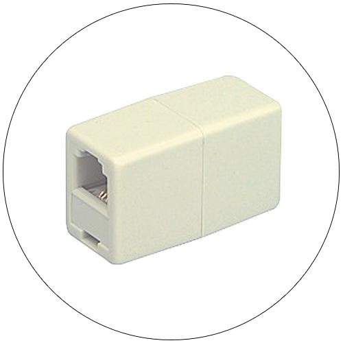 In-line Telephone Line Cord Coupler for RJ11 and RJ12 Jacks - Ivory