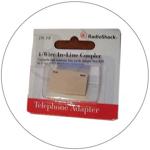 In-line Telephone Line Cord Coupler - 1 or 2 Lines for RJ11 - RJ12 Jacks - Ivory