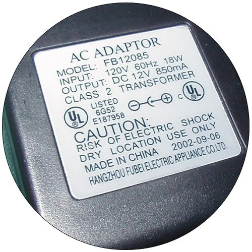 AC Power Supply Adapter No. FB12085 (Refurbished)