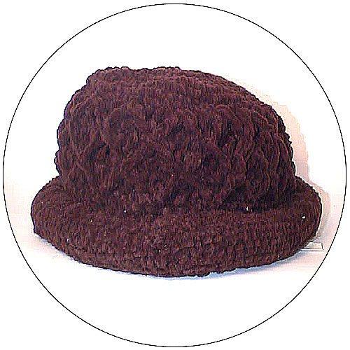 Women's Roll Brim Chenille Hat w/ Design - Brown