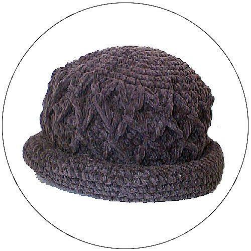 Women's Roll Brim Chenille Hat  w/ Design - Dark Gray