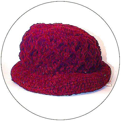 Women's Roll Brim Chenille Hat w/ Design - Red