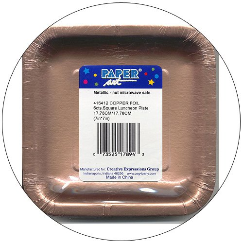 "Copper Foil Metallic 7"" Square Luncheon / Paper Party Plates - 6 Count - Paper Art  - No. 416412"