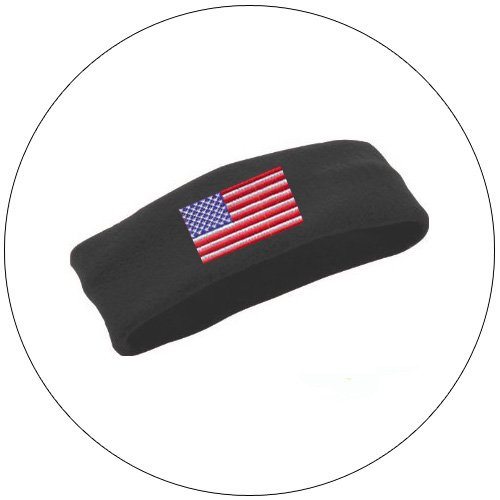 Soft Stretchable Chill Fleece Embroidered USA Flag Headband / Earband - Color: Black