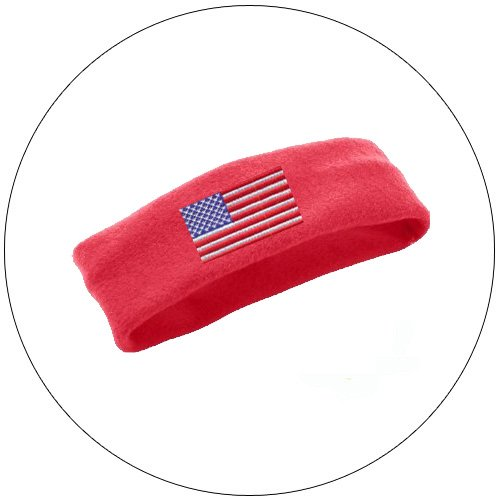 Soft Stretchable Chill Fleece Embroidered USA Flag Headband / Earband - Color: Royal Red