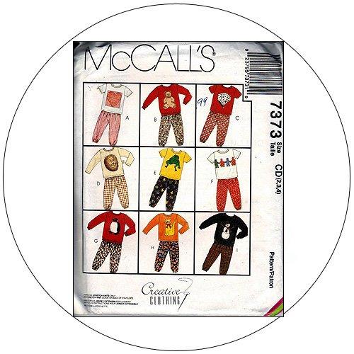 McCall's No. 7373 Sewing Pattern - Sweatshirt, T-Shirt & Pull-On Pants - Size 2-3-4
