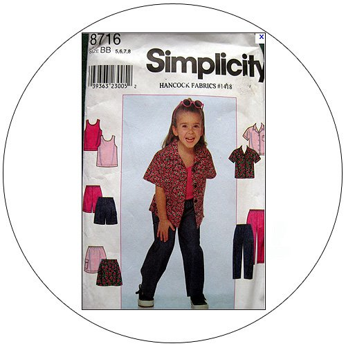 Simplicity No. 8716 Sewing Pattern - Child's Shirt, Skirt, Pants or Shorts & Tank Top - Size 5,6,7,8