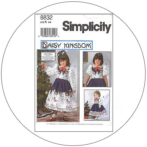 """Simplicity No. 8832 Sewing Pattern - Child's Dress Doll Dress for 18"""" Doll - Size 3-8"""